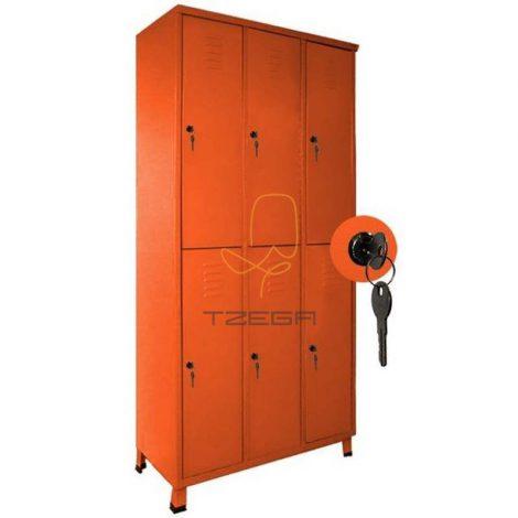 ארון מתכת למשרד 6 תאים אישיים 2X3